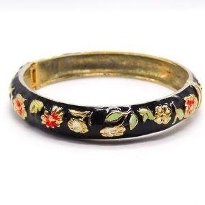 Vintage Flower Enamel Snap Bangle Bracelet